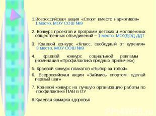 Всероссийская акция «Спорт вместо наркотиков» 1 место, МОУ СОШ №9 Конкурс проект