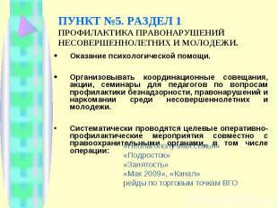 ПУНКТ №5. РАЗДЕЛ 1 ПРОФИЛАКТИКА ПРАВОНАРУШЕНИЙ НЕСОВЕРШЕННОЛЕТНИХ И МОЛОДЕЖИ. Ок