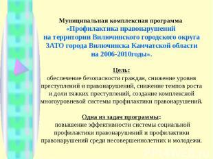 Муниципальная комплексная программа «Профилактика правонарушений на территории В
