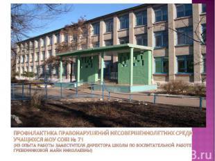 Профилактика правонарушений несовершеннолетних среди учащихся МОУ СОШ № 71(из оп