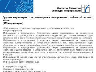 Группы параметров для мониторинга официальных сайтов областного звена(115 параме