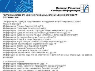 Группы параметров для мониторинга официального сайта Верховного Суда РФ(309 пара