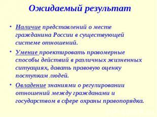 Ожидаемый результат Наличие представлений о месте гражданина России в существующ