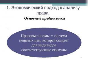 1. Экономический подход к анализу права. Основные предпосылкиПравовые нормы = си
