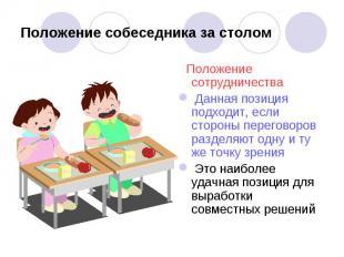 Положение собеседника за столом Положение сотрудничества Данная позиция подходит