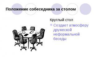 Положение собеседника за столом Круглый столСоздает атмосферу дружеской неформал