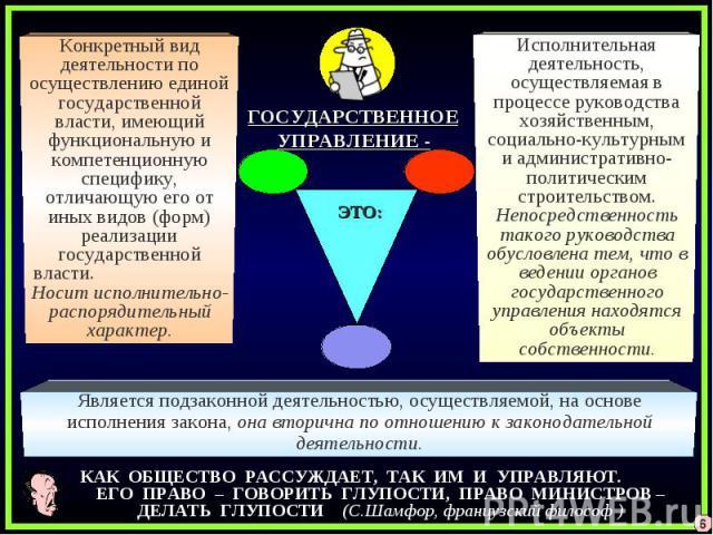 Конкретный вид деятельности по осуществлению единой государственной власти, имеющий функциональную и компетенционную специфику, отличающую его от иных видов (форм) реализации государственной власти. Носит исполнительно-распорядительный характер.Испо…