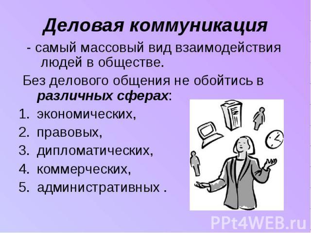 Деловая коммуникация - самый массовый вид взаимодействия людей в обществе. Без делового общения не обойтись в различных сферах:экономических,правовых, дипломатических,коммерческих, административных .
