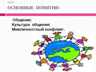 15.12.11 ОСНОВНЫЕ ПОНЯТИЯ: Общение; Культура общения; Межличностный конфликт.