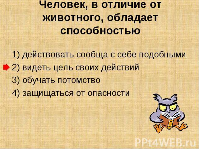 Человек, в отличие от животного, обладает способностью 1) действовать сообща с себе подобными2) видеть цель своих действий3) обучать потомство4) защищаться от опасности