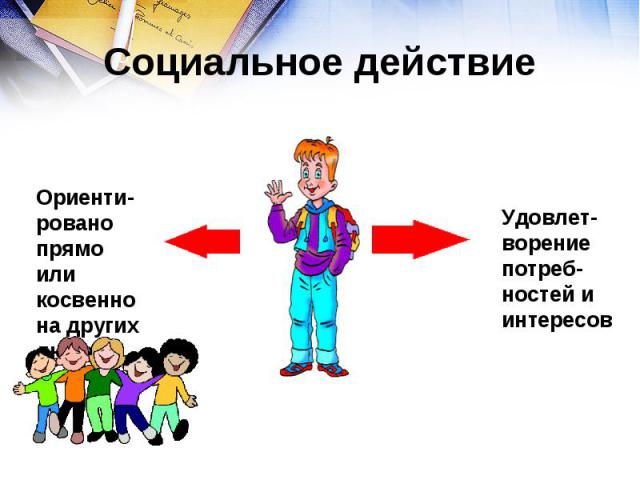 Социальное действие Ориенти-ровано прямо или косвенно на других людейУдовлет-ворение потреб-ностей и интересов