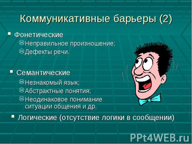 Коммуникативные барьеры (2) ФонетическиеНеправильное произношение;Дефекты речи.СемантическиеНезнакомый язык;Абстрактные понятия;Неодинаковое понимание ситуации общения и др.Логические (отсутствие логики в сообщении)