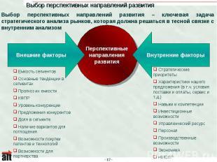 Выбор перспективных направлений развития Выбор перспективных направлений развити