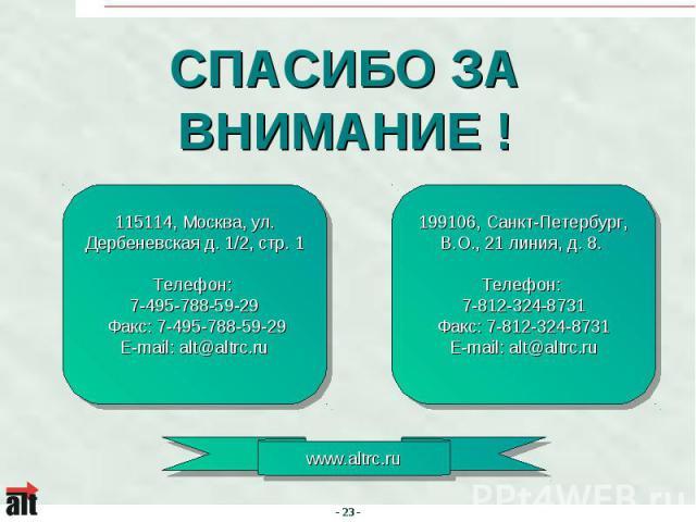 СПАСИБО ЗА ВНИМАНИЕ ! 115114, Москва, ул. Дербеневская д. 1/2, стр. 1Телефон: 7-495-788-59-29 Факс: 7-495-788-59-29E-mail: alt@altrc.ru 199106, Санкт-Петербург, В.О., 21 линия, д. 8. Телефон: 7-812-324-8731Факс: 7-812-324-8731E-mail: alt@altrc.ru