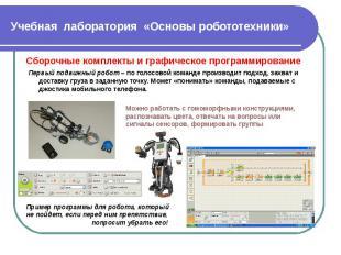 Учебная лаборатория «Основы робототехники» Сборочные комплекты и графическое про