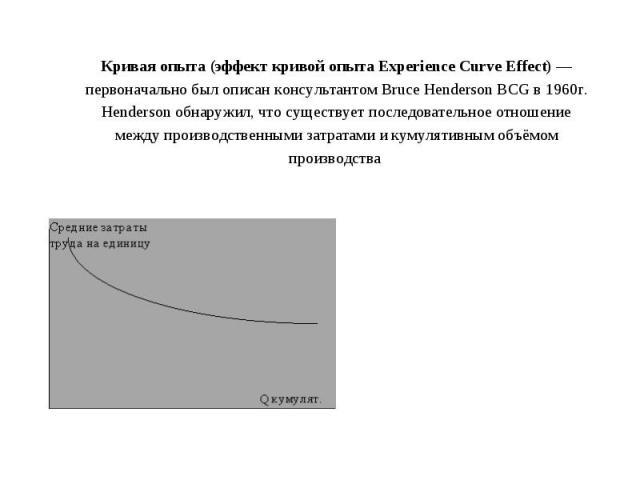 Кривая опыта (эффект кривой опыта Experience Curve Effect)— первоначально был описан консультантом Bruce Henderson BCG в 1960г. Henderson обнаружил, что существует последовательное отношение между производственными затратами и кумулятивным объёмом …