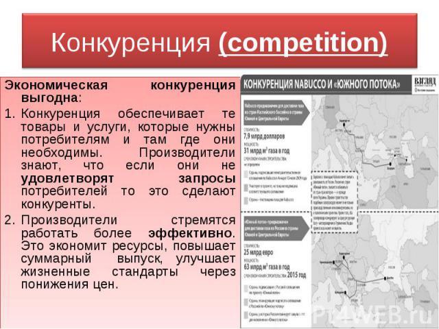 Конкуренция (competition) Экономическая конкуренция выгодна:Конкуренция обеспечивает те товары и услуги, которые нужны потребителям и там где они необходимы. Производители знают, что если они не удовлетворят запросы потребителей то это сделают конку…