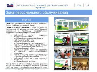 Зона персонального обслуживания Стол №3Цель: Предоставление готовых бизнес решен