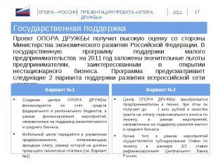 Государственная поддержка Проект ОПОРА ДРУЖБЫ получил высокую оценку со стороны