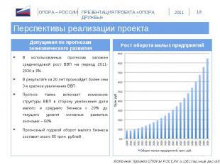 Перспективы реализации проекта Допущения по прогнозам экономического развитияВ и