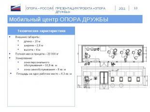 Мобильный центр ОПОРА ДРУЖБЫ Технические характеристикиВнешние габариты:длина –