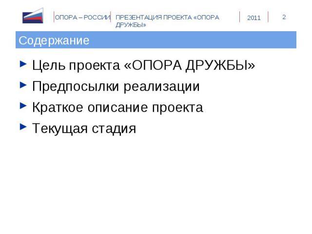 Содержание Цель проекта «ОПОРА ДРУЖБЫ»Предпосылки реализацииКраткое описание проектаТекущая стадия