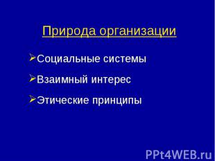 Природа организации Социальные системыВзаимный интересЭтические принципы