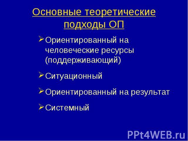 Основные теоретические подходы ОП Ориентированный на человеческие ресурсы (поддерживающий)СитуационныйОриентированный на результатСистемный