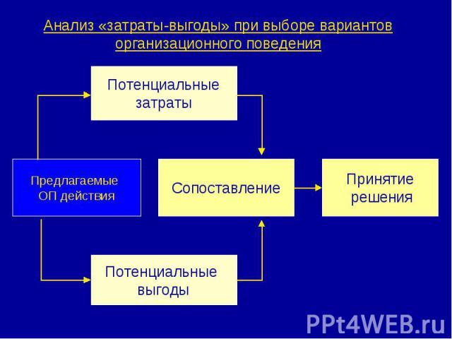 Анализ «затраты-выгоды» при выборе вариантов организационного поведения