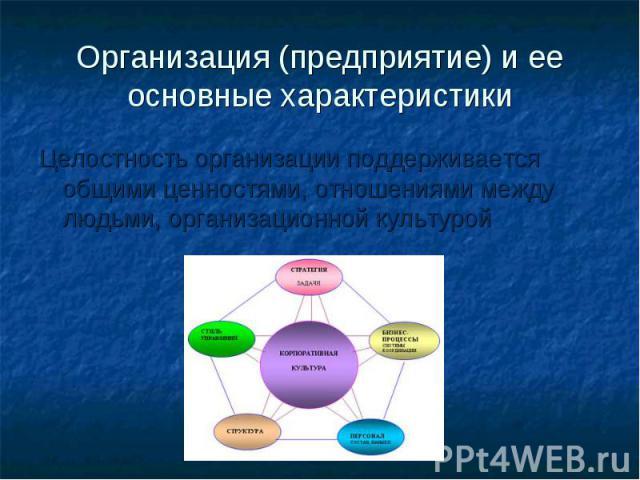 Организация (предприятие) и ее основные характеристики Целостность организации поддерживается общими ценностями, отношениями между людьми, организационной культурой