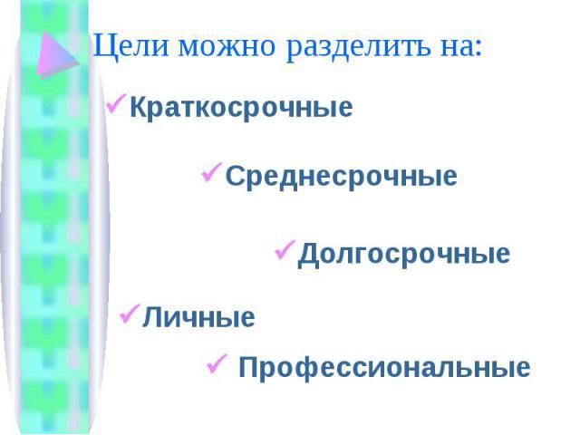 Цели можно разделить на: КраткосрочныеСреднесрочныеДолгосрочные Личные Профессиональные