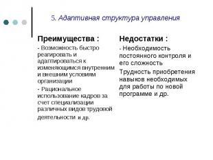 5. Адаптивная структура управления