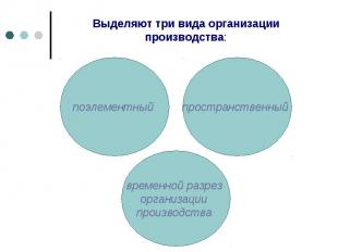 Выделяют три вида организации производства: