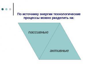 По источнику энергии технологические процессы можно разделить на: