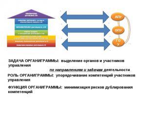 ЗАДАЧА ОРГАНИГРАММЫ: выделение органов и участников управления по направлениям и