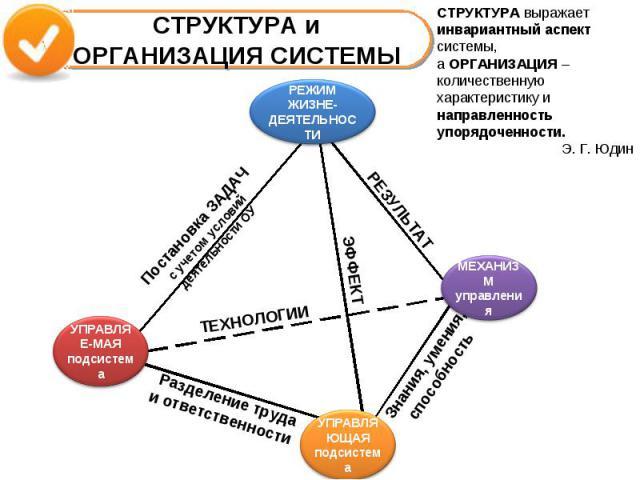 СТРУКТУРА и ОРГАНИЗАЦИЯ СИСТЕМЫСТРУКТУРА выражает инвариантный аспектсистемы, а ОРГАНИЗАЦИЯ – количественную характеристику и направленность упорядоченности.Э. Г. Юдин