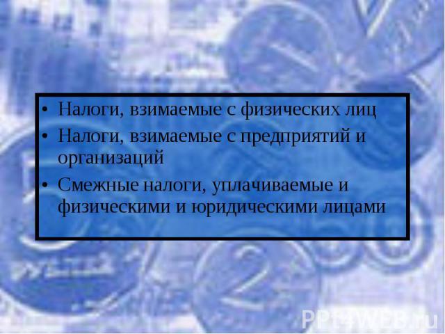 Налоги, взимаемые с физических лицНалоги, взимаемые с предприятий и организацийСмежные налоги, уплачиваемые и физическими и юридическими лицами