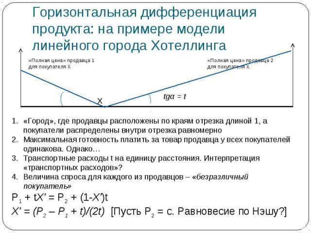 Горизонтальная дифференциация продукта: на примере модели линейного города Хотеллинга «Город», где продавцы расположены по краям отрезка длиной 1, а покупатели распределены внутри отрезка равномерноМаксимальная готовность платить за товар продавца у…