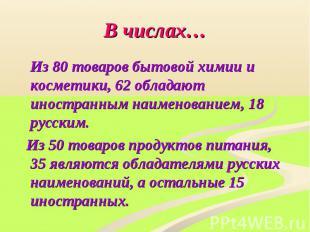 В числах… Из 80 товаров бытовой химии и косметики, 62 обладают иностранным наиме