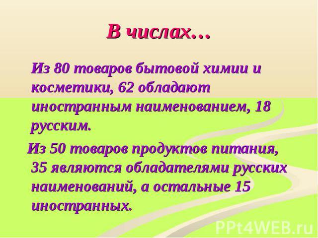 В числах… Из 80 товаров бытовой химии и косметики, 62 обладают иностранным наименованием, 18 русским. Из 50 товаров продуктов питания, 35 являются обладателями русских наименований, а остальные 15 иностранных.