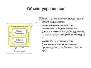 Объект управления Объект управления представляет собой подсистемы: материальных