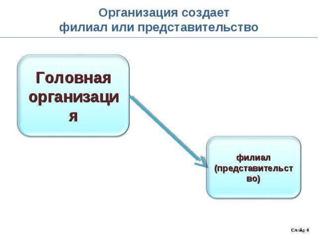 Организация создаетфилиал или представительство
