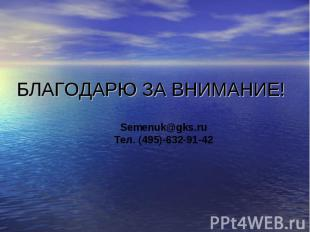 БЛАГОДАРЮ ЗА ВНИМАНИЕ! Semenuk@gks.ruТел. (495)-632-91-42