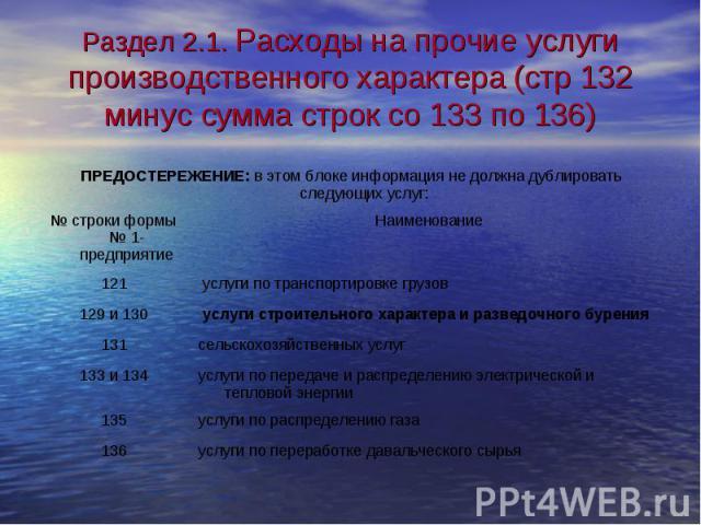 Раздел 2.1. Расходы на прочие услуги производственного характера (стр 132 минус сумма строк со 133 по 136)