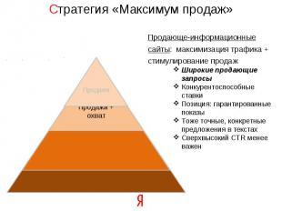 Стратегия «Максимум продаж» Продающе-информационные сайты: максимизация трафика