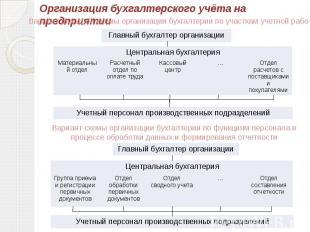Организация бухгалтерского учёта на предприятииВариант функц-ой схемы организаци