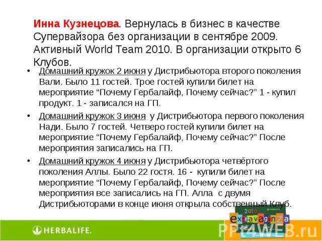 Инна Кузнецова. Вернулась в бизнес в качестве Супервайзора без организации в сентябре 2009. Активный World Team 2010. В организации открыто 6 Клубов. Домашний кружок 2 июня у Дистрибьютора второго поколения Вали. Было 11 гостей. Трое гостей купили б…