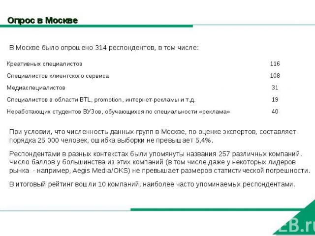 Опрос в Москве В Москве было опрошено 314 респондентов, в том числе:При условии, что численность данных групп в Москве, по оценке экспертов, составляет порядка 25 000 человек, ошибка выборки не превышает 5,4%.Респондентами в разных контекстах были у…
