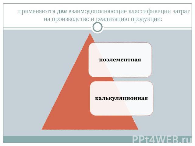 применяются две взаимодополняющие классификации затрат на производство и реализацию продукции: