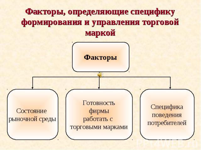Факторы, определяющие специфику формирования и управления торговой маркой